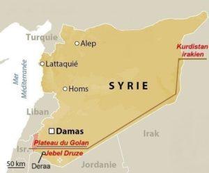 Carte: Itinéraire Kurdistan irkaien- Golan Syrie Druzes -Israël